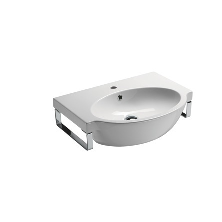 ... GSI 663211-TB, Square Wall Mounted Ceramic Sink with Chrome Towel Bar