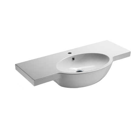 Bathroom Sink, GSI 665111-One Hole, Curved White Ceramic Wall Mounted Bathroom Sink