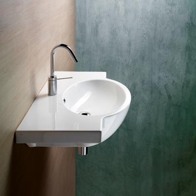 Bathroom Sink, GSI 665111, Curved White Ceramic Wall Mounted Bathroom ...