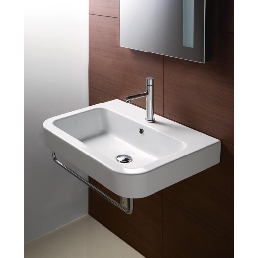 Curved Rectangular White Ceramic Wall Mounted Bathroom Sink, GSI ...
