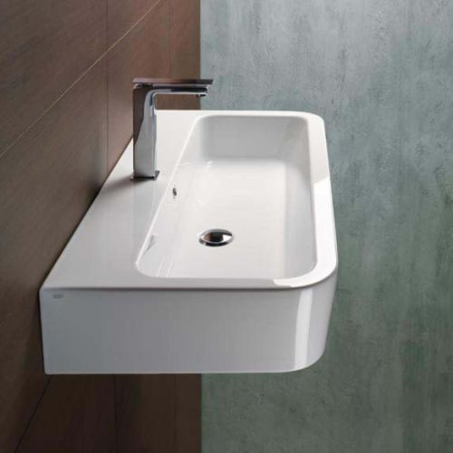 Small Rectangular Vessel Sink : ... Curved Rectangular White Ceramic Wall Mounted or Vessel Bathroom Sink