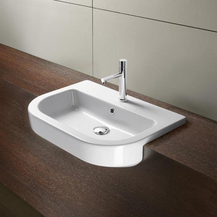 Curved Bathroom Sink : Bathroom Sink, GSI 694511, Curved White Ceramic Semi-Recessed Bathroom ...