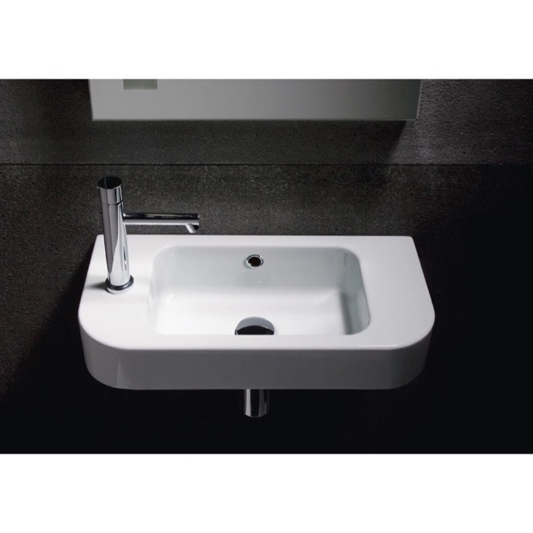 Curved Bathroom Sink : Bathroom Sink, GSI 694711, Curved White Ceramic Wall Mounted Bathroom ...
