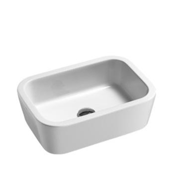 Curved Bathroom Sink : Bathroom Sink, GSI 698211, Curved White Ceramic Vessel Bathroom Sink