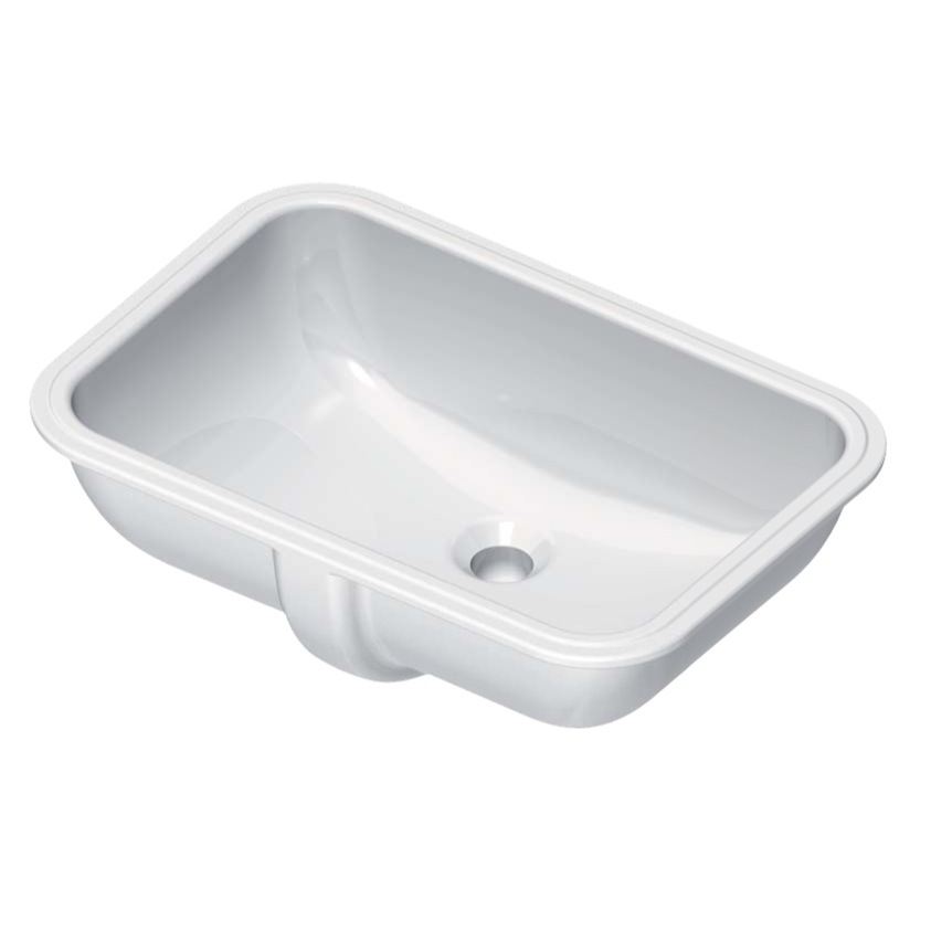 Bathroom Sink, GSI 724311-No Hole, Rectangular White Ceramic Undermount Bathroom Sink