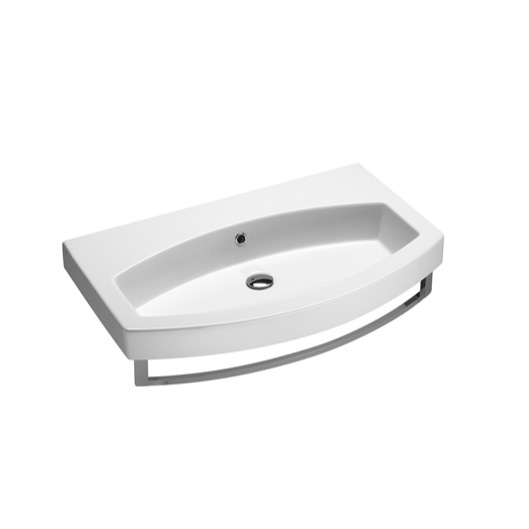... TB, Wall Mounted White Ceramic Sink With Included Towel Bar 752211-TB