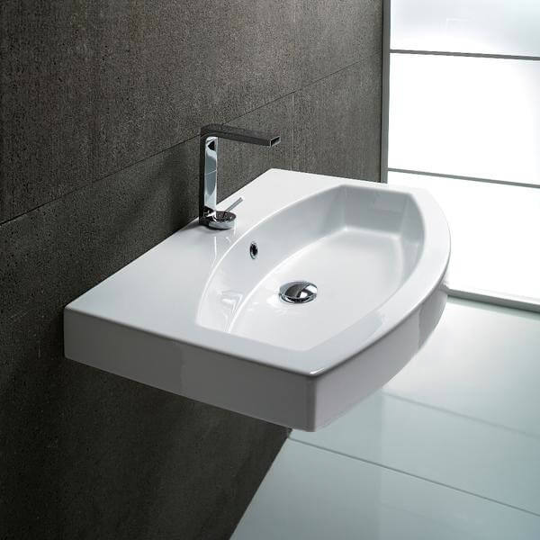 Curved White Ceramic Wall Mounted or Self Rimming Bathroom Sink, GSI ...