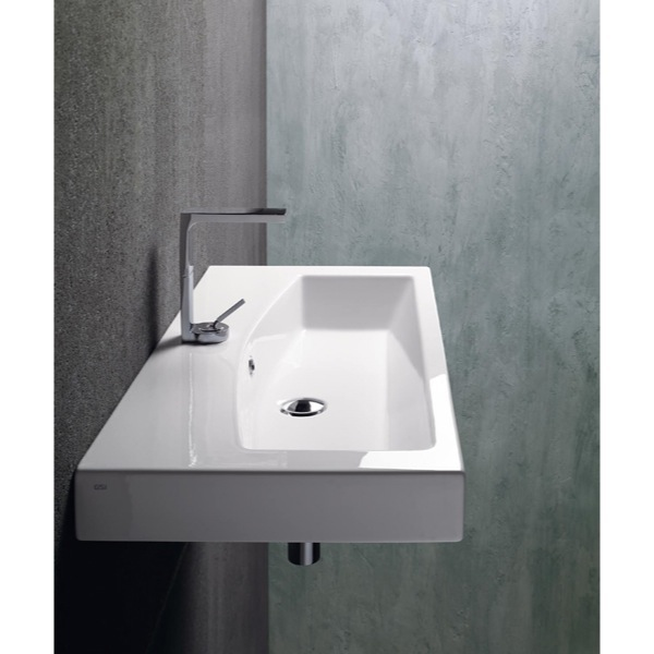 Bathroom Sink Rectangular White Ceramic Wall Mounted Or Self Rimming Bathroom Sink Gsi 758211