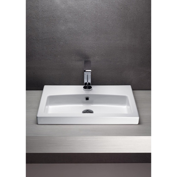 ... TB, Wall Mounted White Ceramic Sink With Included Towel Bar 758211-TB