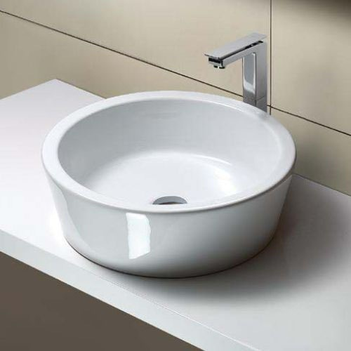 Bathroom Sink, GSI MSF5411-No Hole, Round White Ceramic Vessel Bathroom Sink