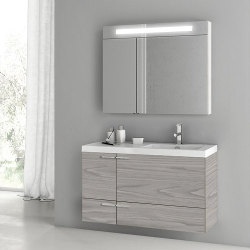 Bathroom Vanity, ACF ANS1399, 39 Inch Grey Walnut Bathroom Vanity with Fitted Ceramic Sink, Wall Mounted, Lighted Medicine Cabinet Included