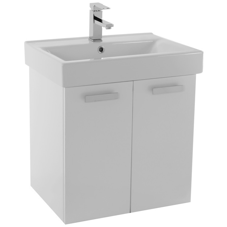 24 Inch Glossy White Wall Mount Bathroom Vanity With Ed Ceramic Sink Lighted Medicine Cabinet Included