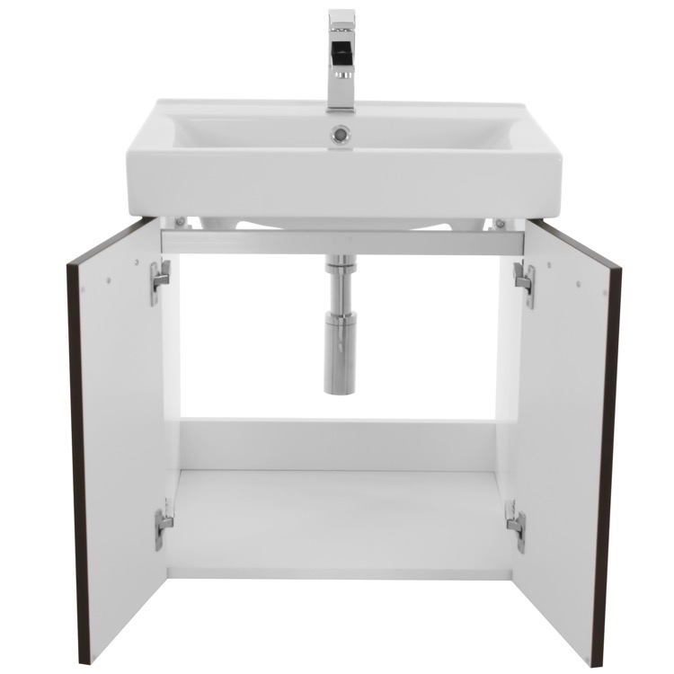 Acf C142 By Nameek S Cubical 24 Inch Wenge Wall Mount Bathroom Vanity With Fitted Ceramic Sink Thebathoutlet