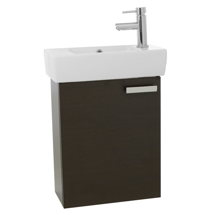 ... 19 Inch Wenge Wall Mount Bathroom Vanity with Fitted Ceramic Sink C138
