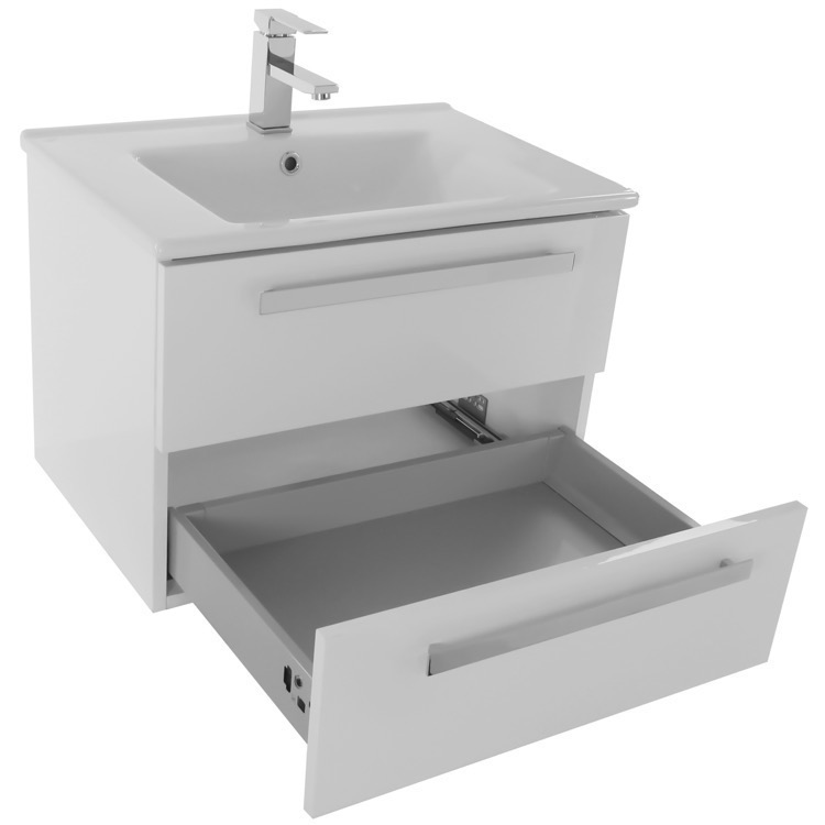 bathroom vanity acf da274 25 inch glossy white wall mount bathroom