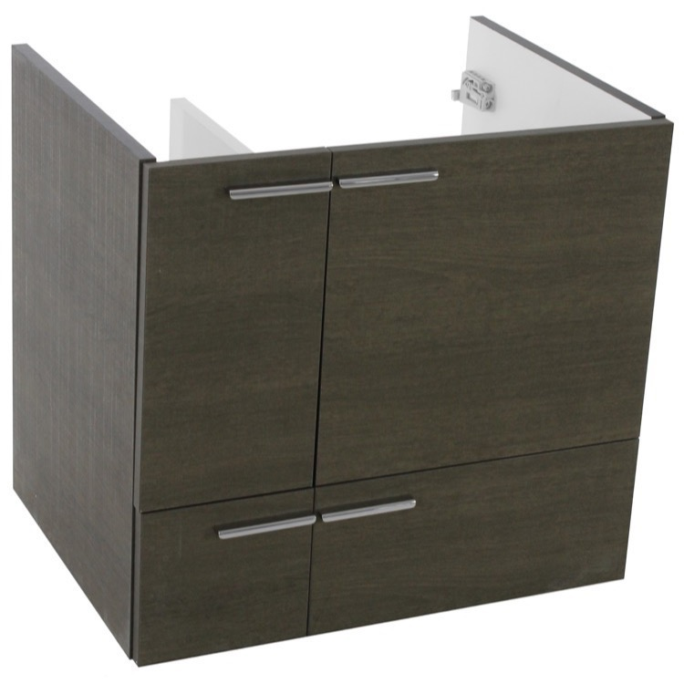 Vanity Cabinet, ACF L415GO, 23 Inch Wall Mount Grey Oak Bathroom Vanity Cabinet
