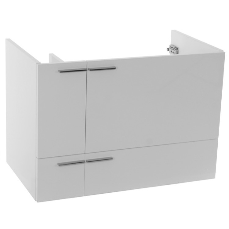 Vanity Cabinet, ACF L417W, 31 Inch Wall Mount Glossy White Bathroom Vanity Cabinet