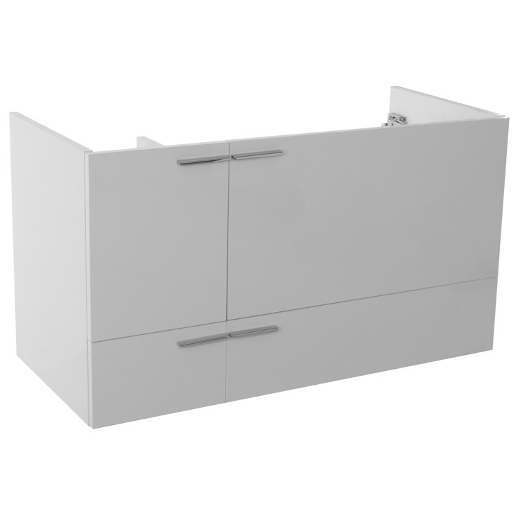 Vanity Cabinet, ACF L419W, 39 Inch Wall Mount Glossy White Bathroom Vanity Cabinet