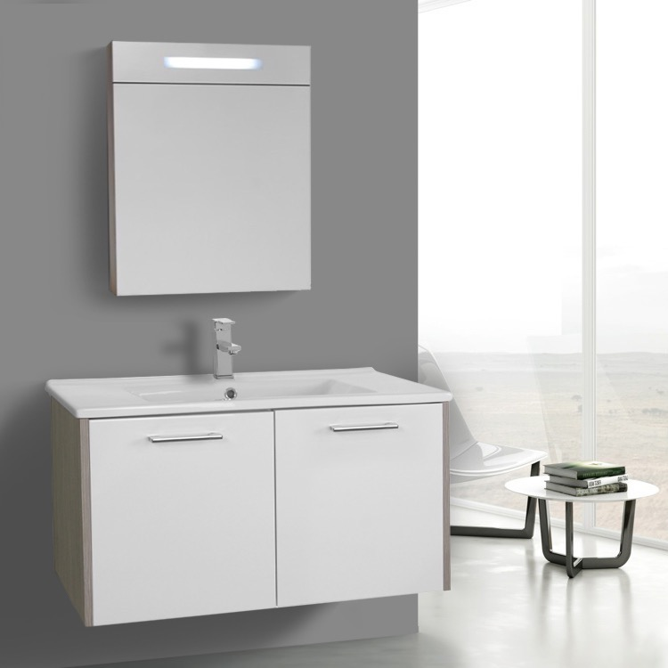 33 inch glossy white and larch canapa bathroom vanity set