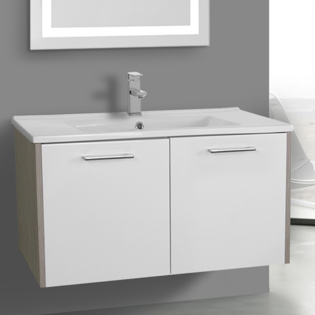 33 Inch White and Larch Canapa Bathroom Vanity Set Wall Mounted