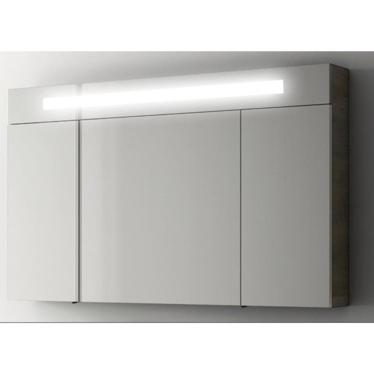 Medicine Cabinet, ACF S512-Glossy White, Modern 47 Inch Medicine Cabinet with 3 Doors and Neon Light