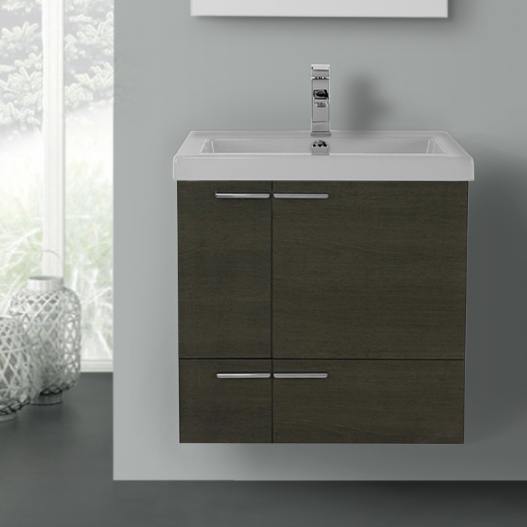 Bathroom Vanity, ACF ANS338, 23 Inch Grey Oak Bathroom Vanity with Fitted Ceramic Sink, Wall Mounted