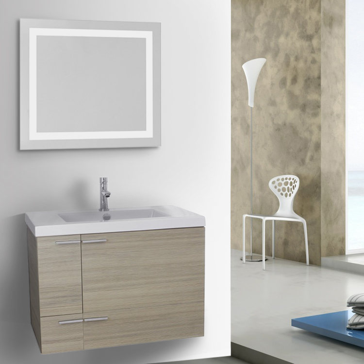 Bathroom Vanity, ACF ANS543, 31 Inch Larch Canapa Bathroom Vanity with Fitted Ceramic Sink, Wall Mounted, Lighted Mirror Included