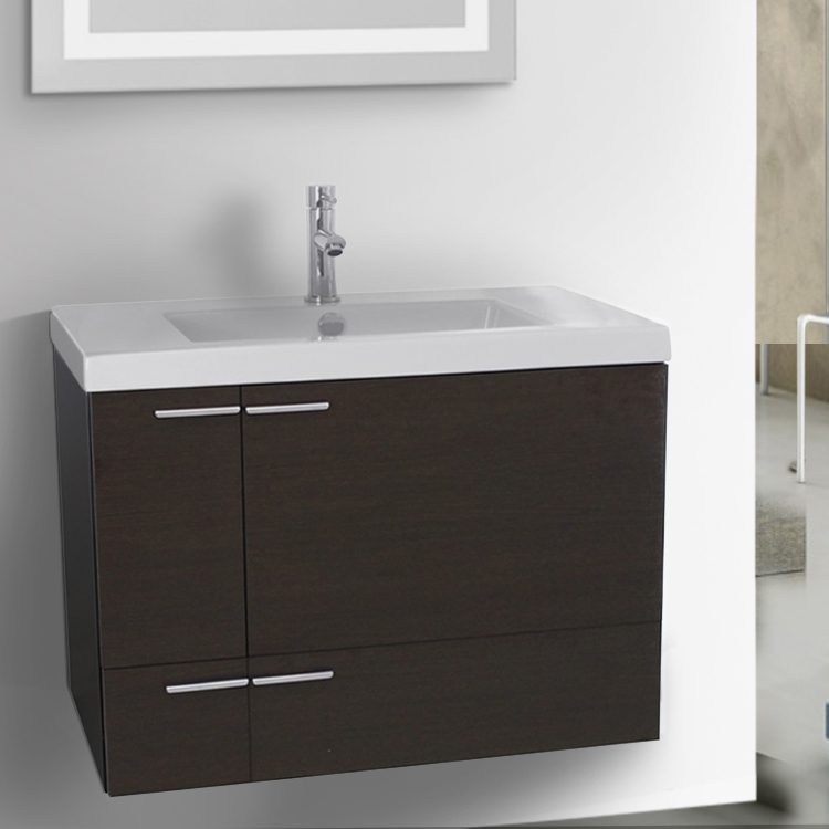 Bathroom Vanity, ACF ANS345, 31 Inch Wenge Bathroom Vanity with Fitted Ceramic Sink, Wall Mounted
