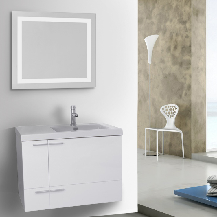 Bathroom Vanity, ACF ANS547, 31 Inch Glossy White Bathroom Vanity with Fitted Ceramic Sink, Wall Mounted, Lighted Mirror Included