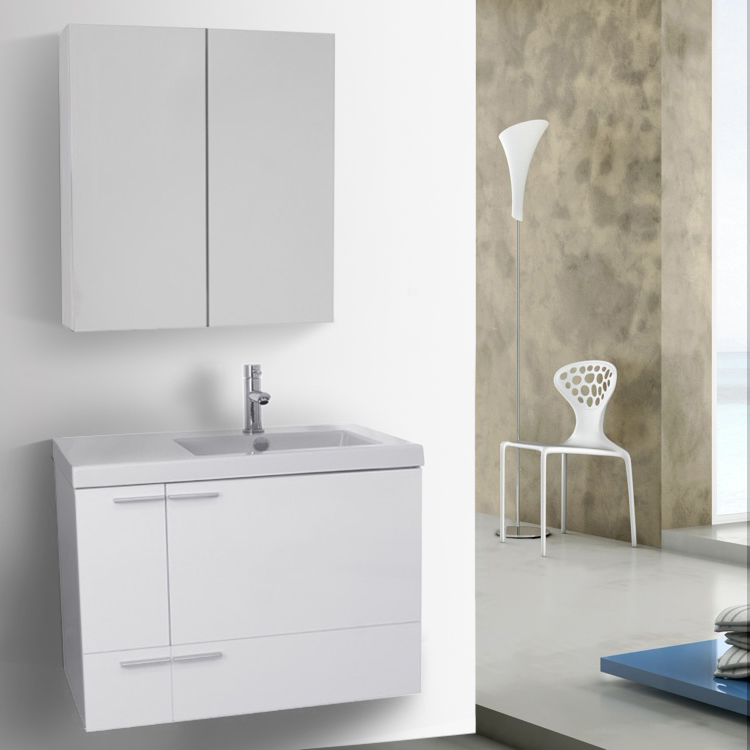 Bathroom Vanity, ACF ANS1251, 31 Inch Glossy White Bathroom Vanity with Fitted Ceramic Sink, Wall Mounted, Medicine Cabinet Included