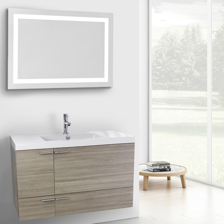 33 inch white and larch canapa bathroom vanity set wall moun