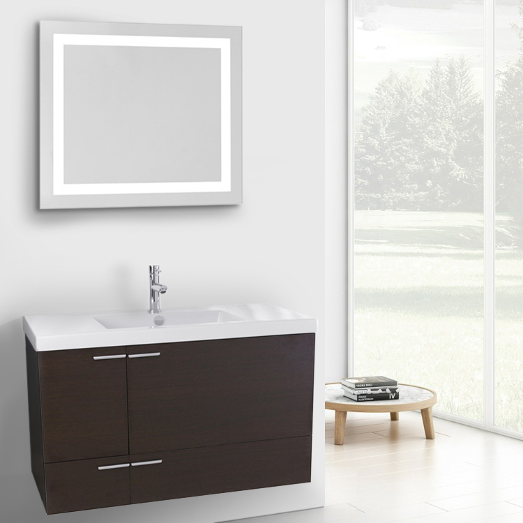 Bathroom Vanity, ACF ANS598, 39 Inch Wenge Bathroom Vanity with Fitted Ceramic Sink, Wall Mounted, Lighted Mirror Included