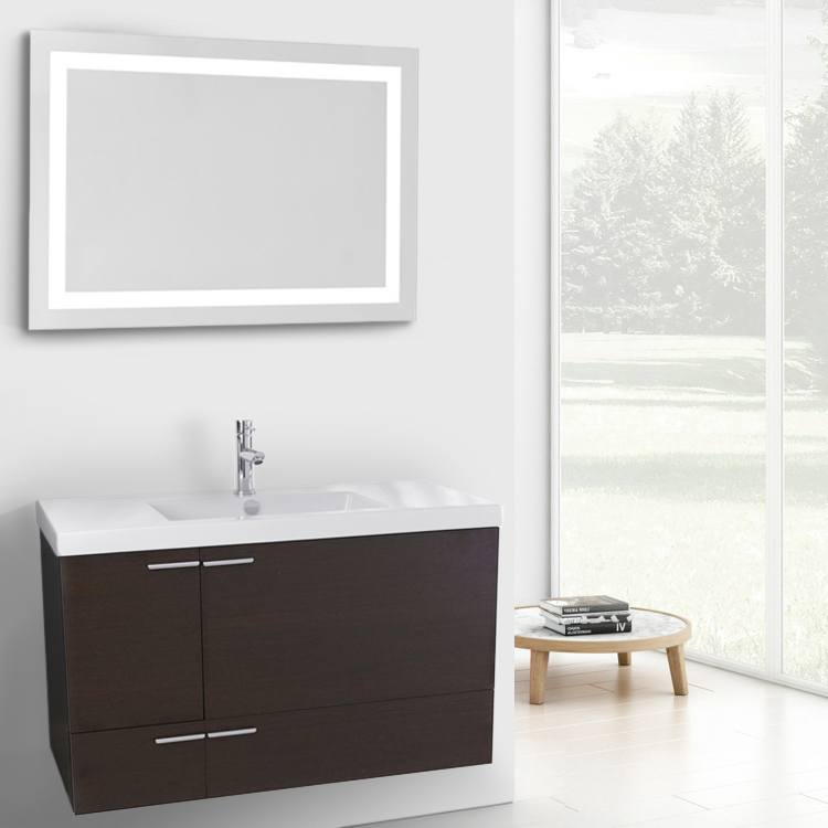 Bathroom Vanity, ACF ANS599, 39 Inch Wenge Bathroom Vanity with Fitted Ceramic Sink, Wall Mounted, Lighted Mirror Included