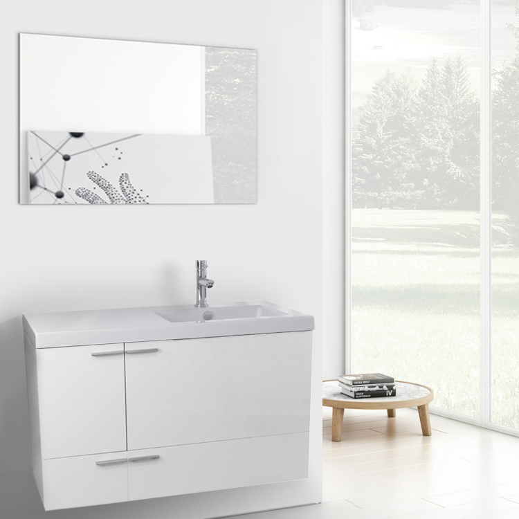 Bathroom Vanity, ACF ANS610, 39 Inch Glossy White Bathroom Vanity with Fitted Ceramic Sink, Wall Mounted, Mirror Included