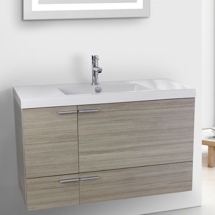 Bathroom Vanity, ACF ANS359, 39 Inch Larch Canapa Bathroom Vanity with Fitted Ceramic Sink, Wall Mounted