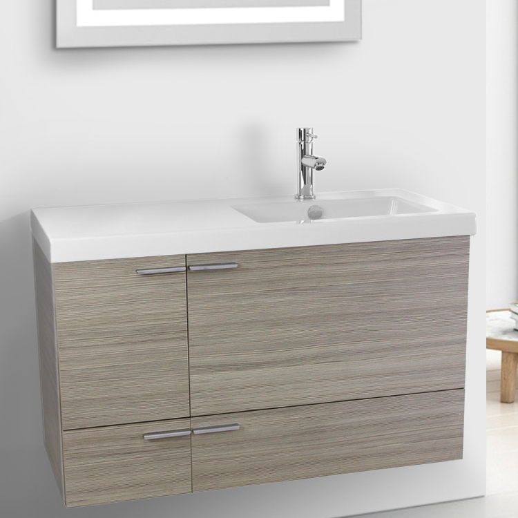 Bathroom Vanity, ACF ANS363, 39 Inch Larch Canapa Bathroom Vanity with Fitted Ceramic Sink, Wall Mounted