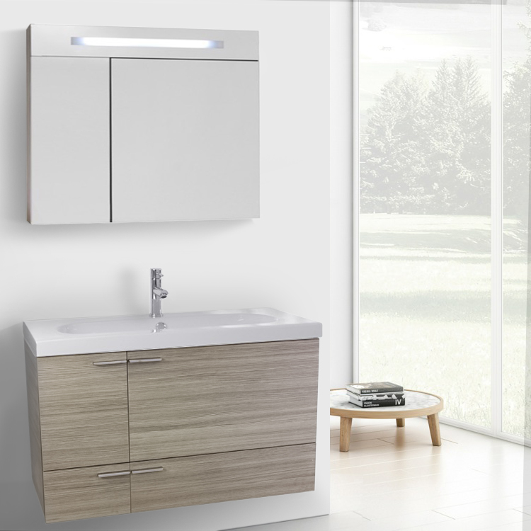 Bathroom Vanity, ACF ANS1344, 39 Inch Larch Canapa Bathroom Vanity with Fitted Ceramic Sink, Wall Mounted, Lighted Medicine Cabinet Included