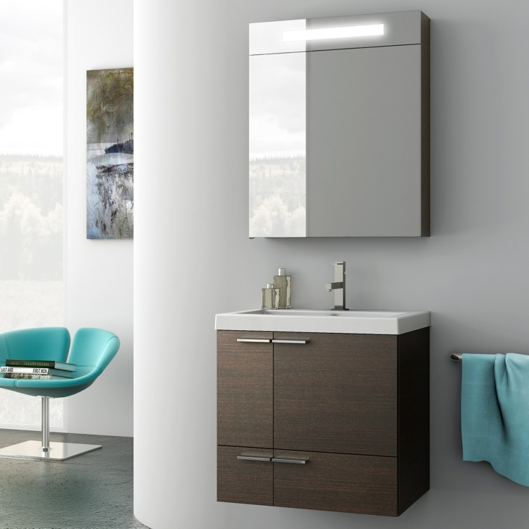 Bathroom Vanity, ACF ANS03-Wenge, 23 Inch Bathroom Vanity Set