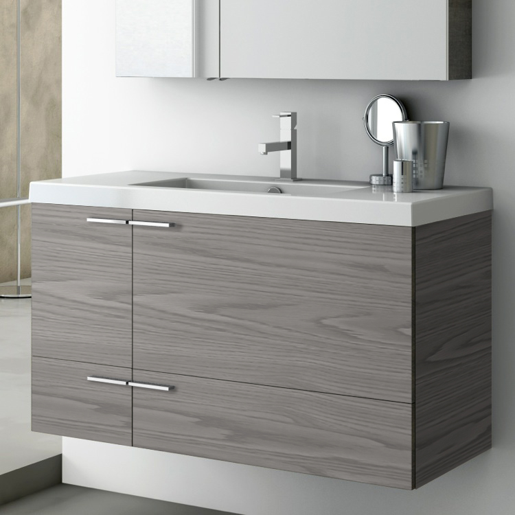 Bathroom Vanity, ACF ANS34-Grey Walnut, 39 Inch Vanity Cabinet With Fitted Sink