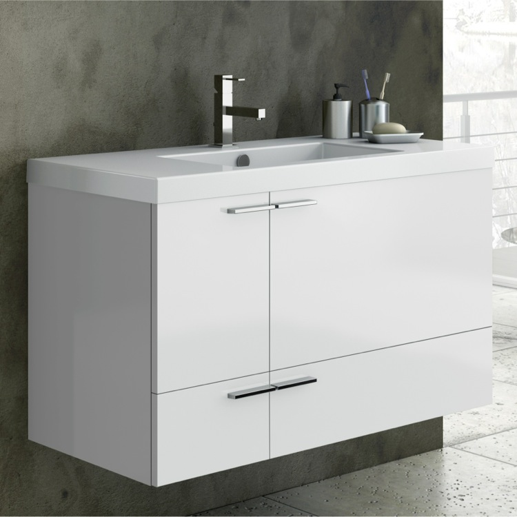 Bathroom Vanity, ACF ANS34-Glossy White, 39 Inch Vanity Cabinet With Fitted Sink