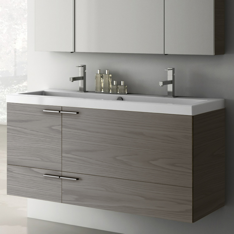 Bathroom Vanity, ACF ANS39-Grey Walnut, 47 Inch Vanity Cabinet With Fitted Sink