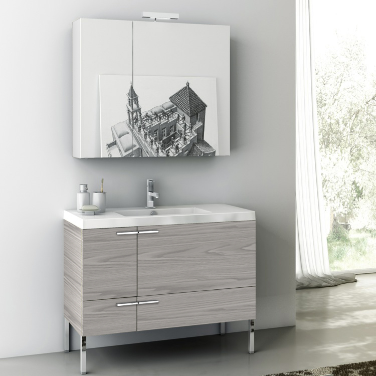 Bathroom Vanity, ACF ANS15-Grey Walnut, 39 Inch Bathroom Vanity Set