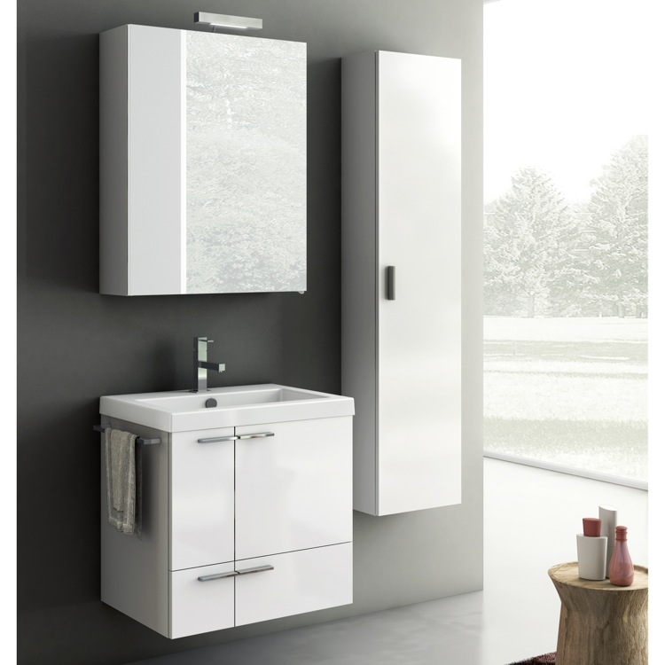Bathroom Vanity, ACF ANS27-Glossy White, 23 Inch Bathroom Vanity Set