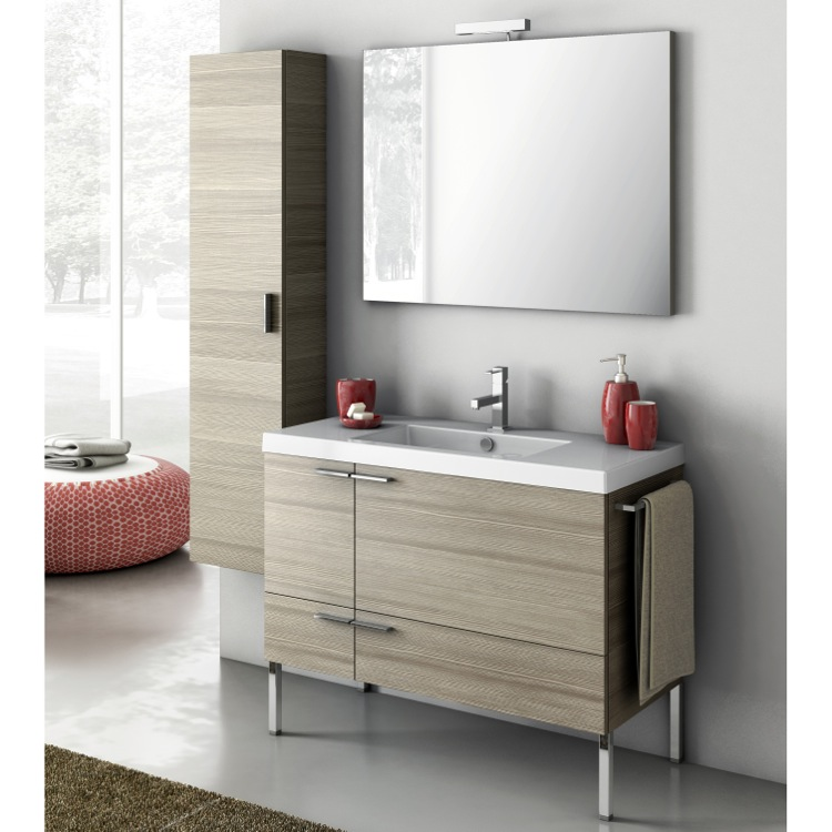 Bathroom Vanity, ACF ANS28-Larch Canapa, 39 Inch Bathroom Vanity Set