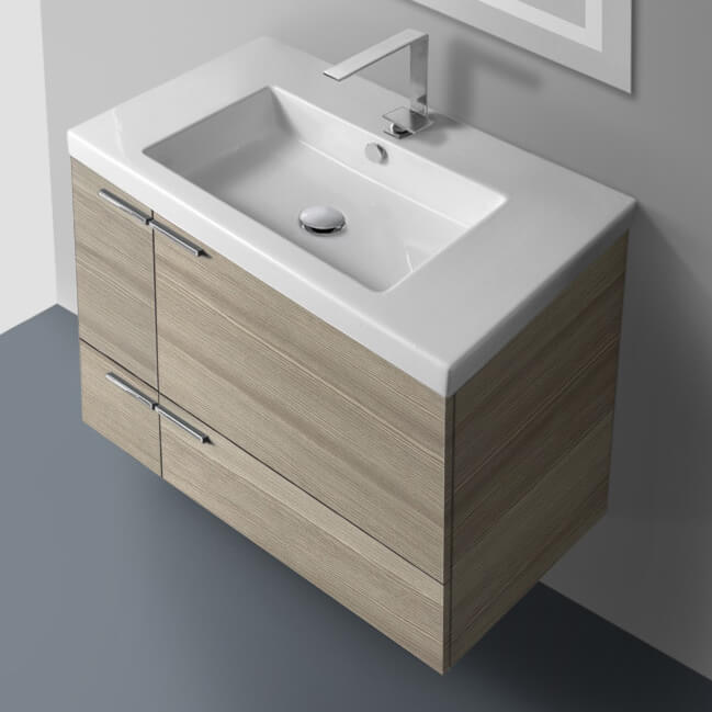 Bathroom Vanity, ACF ANS31-Larch Canapa, 31 Inch Vanity Cabinet With Fitted Sink