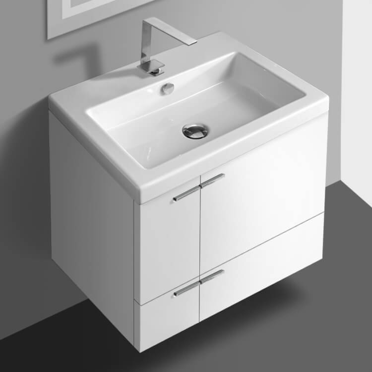 Bathroom Vanity, ACF ANS32-Glossy White, 23 Inch Vanity Cabinet With Fitted Sink