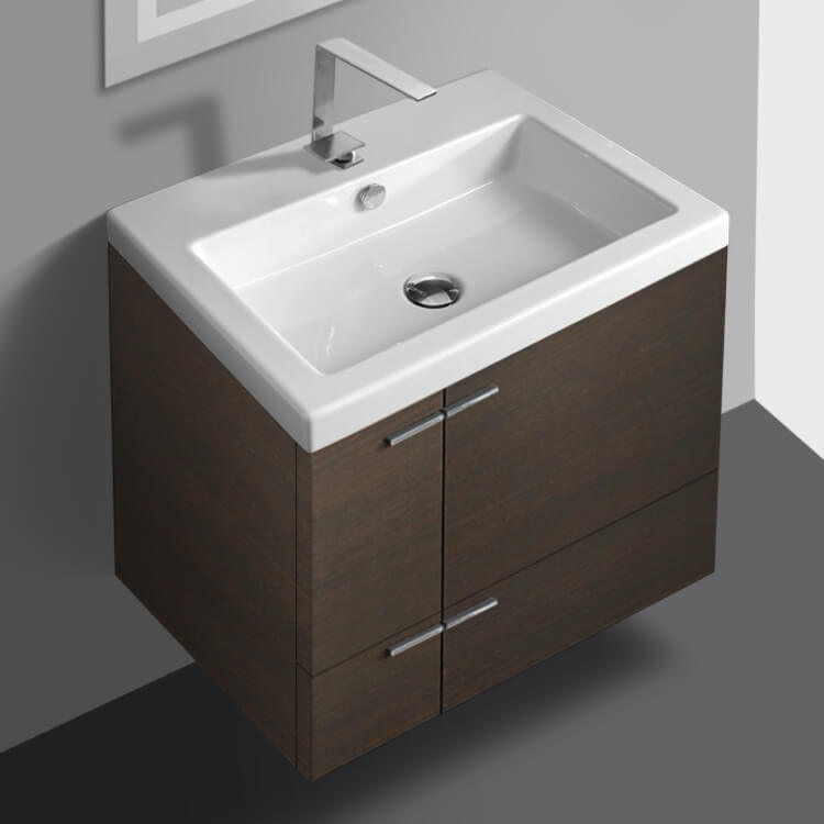 Bathroom Vanity, ACF ANS32-Wenge, 23 Inch Vanity Cabinet With Fitted Sink