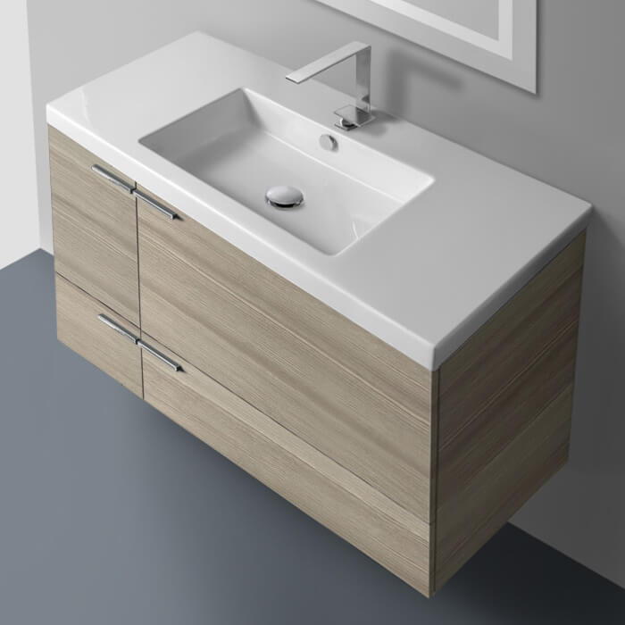 Bathroom Vanity, ACF ANS34-Larch Canapa, 39 Inch Vanity Cabinet With Fitted Sink