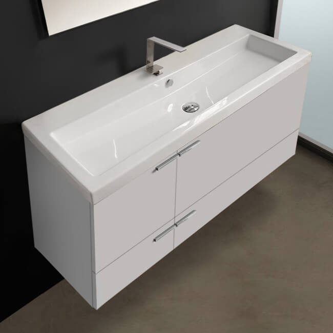 Acf Ans368 By Nameek S New Space 47 Inch Glossy White Bathroom Vanity Set Large Basin Sink Thebathoutlet