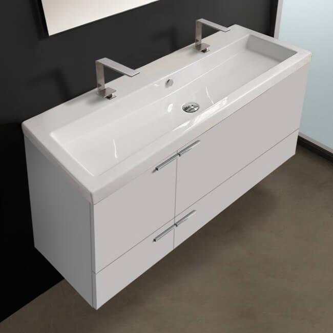 Bathroom Vanity, ACF ANS39-Glossy White, 47 Inch Vanity Cabinet With Fitted Sink
